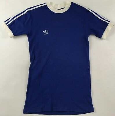 Adidas 1980s T-shirt 80er Blue White Crew Neck Made In West Germany Vintage S ? • 29.99£