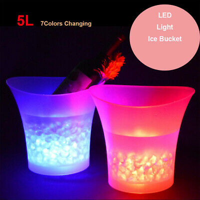 7 Colour LED Ice Bucket 5L Large Wine Drinks Beverage Champagne Party Bar Cooler • 12.95£