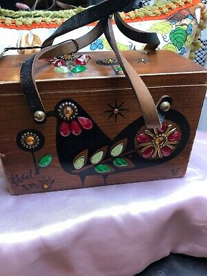 $55 • Buy Enid Collins Of Texas Box Bag Wood Purse   BIRD IN HAND   1960'S JEWELED TAGS