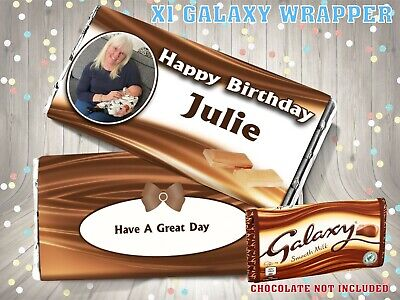 £2.25 • Buy PERSONALISED Photo CHOCOLATE BAR WRAPPER Fits Galaxy 110g Birthday Gift