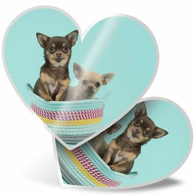 £3.99 • Buy 2 X Heart Stickers 7.5 Cm - Funny Chihuahua Dogs Puppy Puppies  #24346