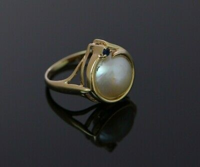 $475 • Buy 14K Yellow Gold Mabe Pearl And Sapphire Accent Ring Circa 1990 Size 6