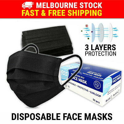 AU19.95 • Buy 50PCS Face Mask 3 Layer Protective Mouth Masks Anti Bacterial Filter Respirator