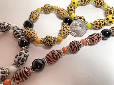 £6.83 • Buy Beads For Jewelry Making Animal Print Tiger Leopard Oval Round 24 Pcs Mix 8 Mm