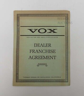 $ CDN178.68 • Buy Vintage 1967 Vox Guitar & Amplifier Dealer Franchise Contract Agreement - Scarce