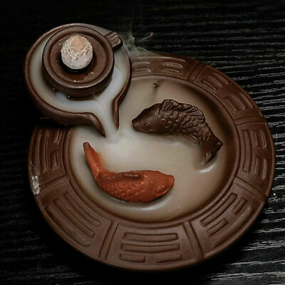 Incense Burner Fish Backflow Ceramic Glaze Smoke Cone Holder Tibet Buddhist NEW • 12.25£
