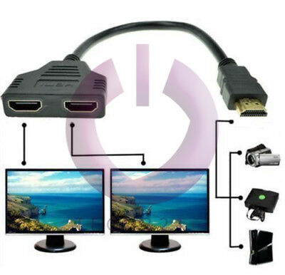 £3.99 • Buy HDMI Male Dual Twin HDMI Female 1 To 2 Way Splitter Adapter Cable For HD TV UK