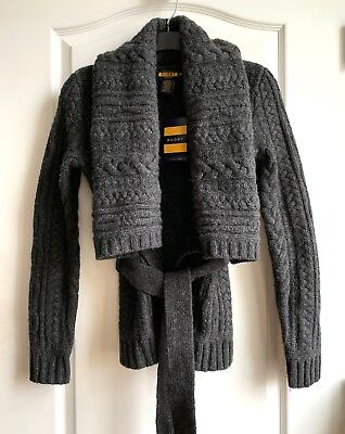 NEW Ralph Lauren Rugby Women's Dark Grey Wool Belted Cardigan XS Can Fit S  $168 • 57.22£