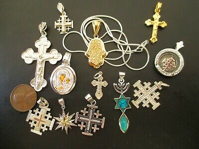 $ CDN70.37 • Buy Sterling Silver Lot 13 Religions Pendants Silver Chain, ~44g, All New, Blessed