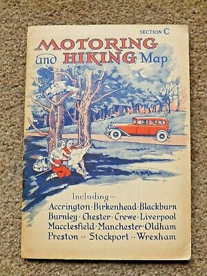 £4 • Buy Vintage 1930's Motoring And Hiking Map Section C Liverpool Preston Manchester