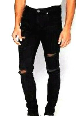 New Mens Ringspun Hercules Super Skinny Ripped Jeans Denim Black W34 L30 • 14.99£