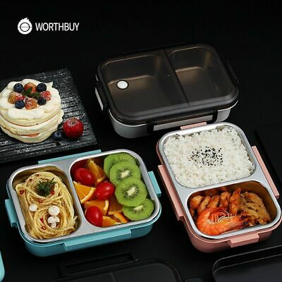AU33.44 • Buy Food Container Lunch Box Storage Set Lids Stainless Steel Meal Thermos Leak Kids