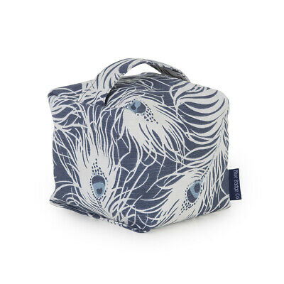£17.95 • Buy Fabric Door Stop Soft Natural Grain Filled Carry Handle In Peacock Blue Badge Co