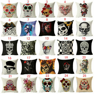 3D Skull Cotton Linen Fashion Sofa Throw Pillow Case Cushion Cover Home Decor • 2.79£