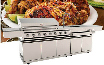 $4299 • Buy Stainless Steel Outdoor Kitchen 8 Burner BBQ Propane NG Gas Grill  + Sink Module