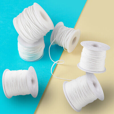 $ CDN10.59 • Buy 1 Roll White Flat Nylon Elastic Round Cords Jewelry Crafting Thread String 2~3mm