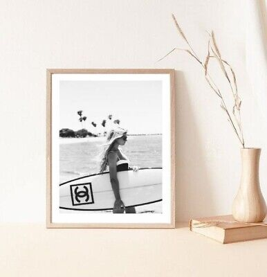 £4.50 • Buy A4 Woman With Chanel Surfboard California Style Black An White - Wall Print