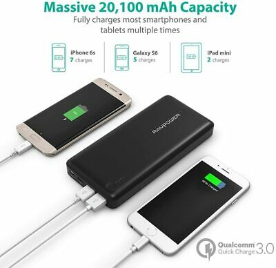 AU125.12 • Buy RAVPower 20100mAh Input & Output Type C Power Bank, QC 3.0 Qualcomm Quick Charge