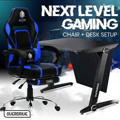 AU399 • Buy 【EXTRA15%OFF】OVERDRIVE Gaming Chair Desk Racing Seat Setup PC Combo Black