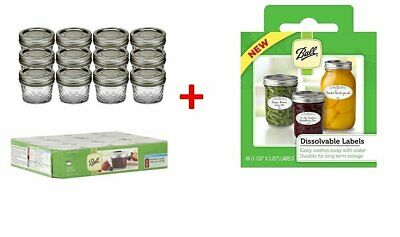 $29.99 • Buy Ball 4-Ounce Quilted Crystal Jelly Jars With Lids And Bands, Set Of 12, +...