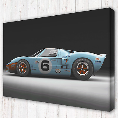 Ford GT40 Mk 1 Gulf Le Mans 1960's | Box Canvas Print Photo Picture | 5 Sizes • 32.97£