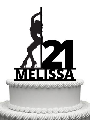 Personalised Pole Dancer Lap Dancing Gloss Acrylic Cake Topper Any Name Any Age • 9.99£