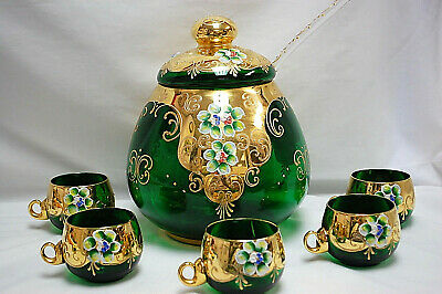 £319.06 • Buy Murano Green Glass With Gold Italian Punch Bowl Set  Bowl  Ladle  5 Cups  M4433