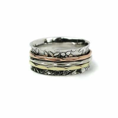 925 Sterling Silver Spinning Ring Flower Band With 3 Colour Spinning Band Thumb  • 29.95£