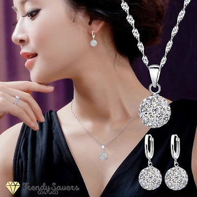 £3.99 • Buy Sparkling Floating 925 Sterling Silver CZ Crystal Pave Bal Necklace Earrings Set