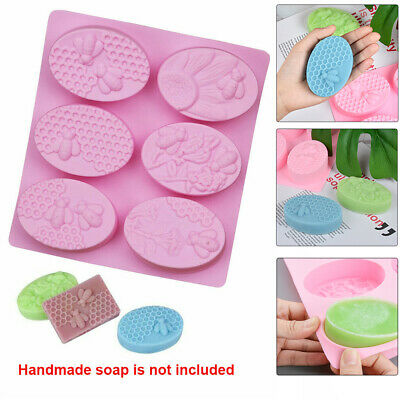 Silicone Soap Mold 3D Honey Bee Honeycomb Oval Shape Cake Mould Candle Wax  • 5.28£