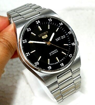 $ CDN76.02 • Buy Seiko 5 Automatic Day Date Military  24 Hrs Railway Timing  Black Dial Men Watch