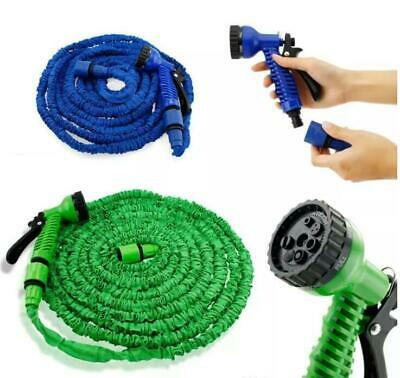 50 -100ft Garden Hose Pipe Water Spray Gun 3x Expandable Flexible Brass Fittings • 12.95£