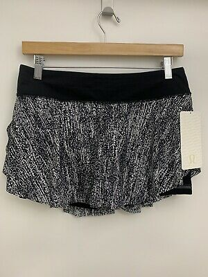 $ CDN66.96 • Buy Lululemon Quick Pace Skirt NWT Sizes 8 10 AIRT Black White Liner 3.5