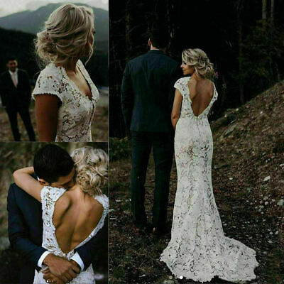 AU162.74 • Buy Bohemian Mermaid Lace Wedding Dress White Ivory Backless Boho Beach Bridal Gowns