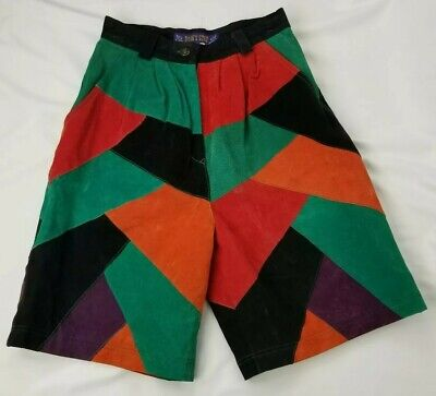 $59.99 • Buy Vintage Don't Stop Suede Shorts Ize 6 Color Block Black Green Red Long Leather