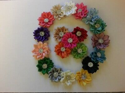 Satin Flowers, Diamante Detail, Craft, Scrapbook, Sewing, Applique, 5, 3,Ribbon • 0.99£