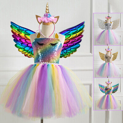 AU29.86 • Buy Unicorn Toddler Kids Girls Dress Birthday Sequins Wings Dress Outfits Costume