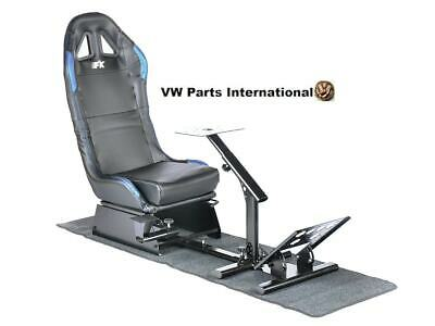 Car Gaming Racing Simulator Frame Chair Bucket Seat Frame Carbon Look Black/Blue • 279.99£
