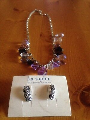$ CDN22.58 • Buy Lia Sophia Earring And Silver Tone Beautiful Necklace Lot