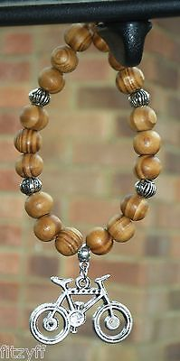 £5.49 • Buy Bicycle Pendant Bike & In Car Wood Wooden Beads Cycle Cyclist Biker Charm