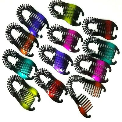$9.45 • Buy 6 Pieces Flexible Hair Comb Vintage Interlocking Claw Jaw Clamp Banana Clips Lot