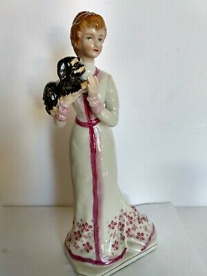 $ CDN24 • Buy Vintage Victorian Porcelain Figurine Of  Lady With Her Dog 9 Inches Tall
