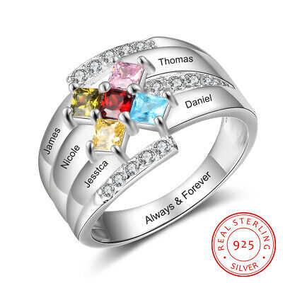 $59.90 • Buy Mothers Ring Birthstone Sterling Silver Engraved 5 Stones Personalized Family