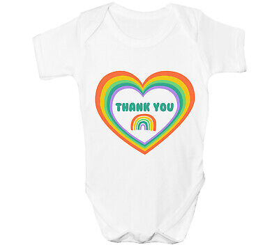 £7.55 • Buy Rainbow Heart Baby Grow Boys Girls Vest Thank You Support NHS Stay Home
