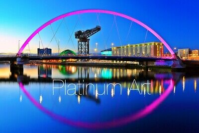 £18.99 • Buy GLASGOW Clyde Arc Skyline PICTURE CANVAS WALL ART  20X30