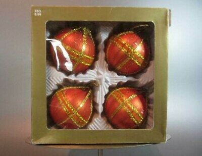 $ CDN28 • Buy Vintage Set 4 Ball Christmas Glass Tree Ornaments West Germany Crinkle Wire