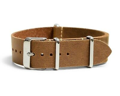 $16.95 • Buy Oiled Leather Military Style One-Piece Watch Band - Sand - 18, 20, 22 Or 24mm