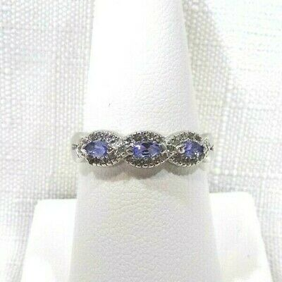 AU71.99 • Buy 0.55ct Natural Marquise Shape Tanzanite & White Topaz Solid Sterling Silver Ring