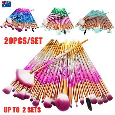 AU9.90 • Buy 20/40PCS Make-up Cosmetic Brushes Diamond Unicorn Eye Shadow Blending Brush Kit