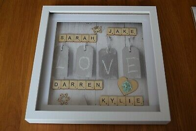 Personalised Family Children Love Birthday Name Scrabble Picture Box Frame • 18£